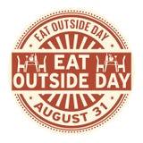 Eat Outside Day, August 31. Rubber stamp, vector Illustration stock illustration