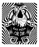 Eat pizza or die. Vector hand drawn illustration of death with slice of pizza. Creative tattoo artwork. Template for card, poster, banner, print for t-shirt stock illustration