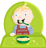 Eat porridge. Baby sitting in a highchair and eat porridge Stock Images