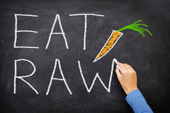EAT RAW words written on blackboard - food diet. EAT RAW words written on blackboard - new trend in nutrition. The raw food diet consist of eating only uncooked royalty free stock images
