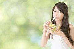 Eat salad Stock Photo