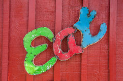 Eat Sign. Former neon sign that says, Eat, on a red building on Route 66 stock photography