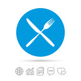 Eat sign icon. Cutlery symbol. Fork and knife. Eat sign icon. Cutlery symbol. Fork and knife crosswise. Copy files, chat speech bubble and chart web icons Royalty Free Stock Photography