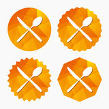 Eat sign icon. Cutlery symbol. Knife and spoon. Stock Image