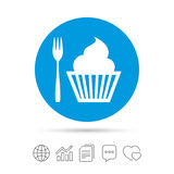 Eat sign icon. Dessert fork with muffin. Eat sign icon. Dessert trident fork with muffin. Cutlery symbol. Copy files, chat speech bubble and chart web icons Royalty Free Stock Photography