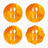 Eat sign icon. Dessert fork and teaspoon. Royalty Free Stock Image