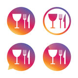 Eat sign icon. Knife, fork and wineglass. Eat sign icon. Cutlery symbol. Knife, fork and wineglass. Gradient buttons with flat icon. Speech bubble sign. Vector Stock Photography