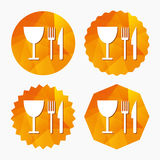 Eat sign icon. Knife, fork and wineglass. Royalty Free Stock Photo