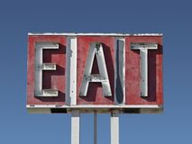 Eat Sign Ruin. Along a California desert highway Stock Images