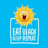 Eat sleep beach repeat vector illustration or summer poster. vector funky sun character with funny slogan for print on stock illustration