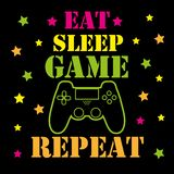 Eat sleep game repeat - funny text with controller and geometric shapes, on black backgound.