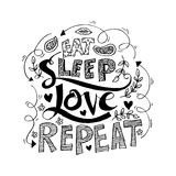 Eat, sleep,love, repeat. Brush lettering. Royalty Free Stock Photo
