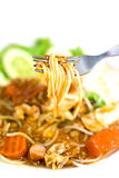 Eat Spaghetti. With folk.shallow depth of field.selective focus Stock Photography