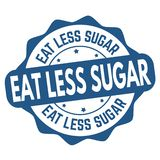 Eat less sugar sign or stamp stock image