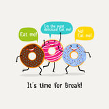 Eat sweet tasty donut poster. Cute colorful glazing donuts with speech bubbles. Banner with character yummy donuts. Vector illustration Stock Image