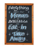 Eat in and and takeaway menu Royalty Free Stock Photo
