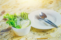 Eat vegetable with food meal concept. stock photo