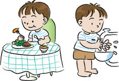 Eat and wash. Children before Eat and wash the hands Royalty Free Stock Photo