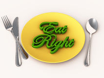 Eat well diet plan. Diet plan, words eat right served in a plate with spoon, fork and knife. diet and healthy eating concept stock illustration