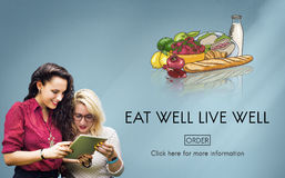 Eat Well Live Well Fresh Healthy Nutrition Organic Concept Stock Photo