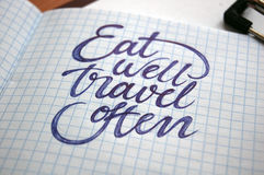 Eat well and Travel often calligraphic background Royalty Free Stock Photos