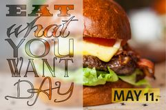 Eat what you want. Background with delicious hamburger stock photography