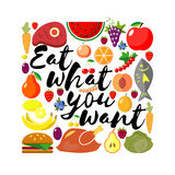 Eat what you want day. Lettering. The inscription on the background with food. Flat  baclground. Stock Photo