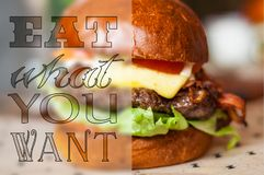 Eat what you want. Background with delicious hamburger stock image