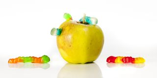 Eat wisely eat an apple stock image