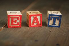 Eat wood blocks Royalty Free Stock Photography