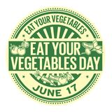 Eat Your Vegetables Day. June 17, rubber stamp, vector Illustration Royalty Free Stock Photo