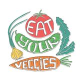 Eat your veggies. Lettering. Stock vector illustration of hand drawn vegetables with healthy lifestyle slogan Stock Image