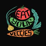 Eat your veggies. Lettering. Stock vector illustration of hand drawn vegetables with healthy lifestyle slogan Royalty Free Stock Photos