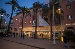 Eataly with Christmas illuminations in Genoa `Porto Antico` area at dusk, Italy. stock image