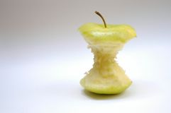 Eaten apple. With copyspace Stock Photo