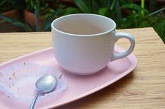Eaten cake with tea in garden Royalty Free Stock Image