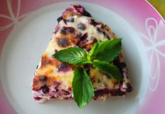 Eaten Cheesecake with bluberries and fresh peppermint leaves on top royalty free stock photography