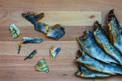 Eaten dried fish Royalty Free Stock Images