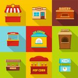 Eatery icons set, flat style vector illustration