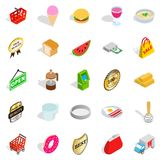 Eatery icons set, isometric style. Eatery icons set. Isometric set of 25 eatery vector icons for web isolated on white background Stock Images