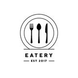 Eatery restaurant logo with knife, fork, spoon and plate icon. Royalty Free Stock Images