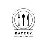 Eateryrestauranglogo med den kniv-, gaffel-, sked- och plattasymbolen vektor illustrationer