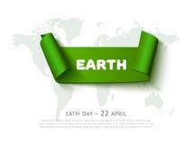Концепция дня Eath с знаменем ленты зеленой книги, картой мира и текстом, реалистической предпосылкой eco вектора Стоковые Изображения