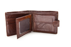 Eather plånbok som är öppen mot vit bakgrund Arkivbilder