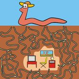 Eathworm - maze. A game for children and adults. Find your way into the room Stock Photography