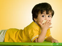 Eating. A small boy eating his biscuit Royalty Free Stock Photography