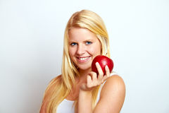 Eating an apple Stock Photo