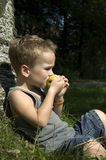 Eating an apple -3. Kid eating a apple while sitting against a tree stock photos