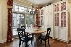 Eating area with doors to deck Stock Images