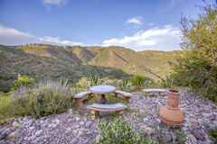 Eating area on a ranch with a view. Outdoors in Southern California homes ready for real estate listings Stock Image